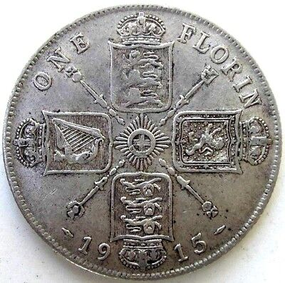 Great Britain Uk Coins, One Florin 1915, George V, Silver 0.925