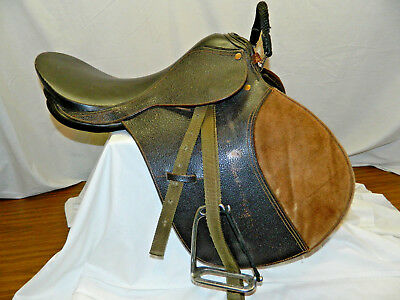 18'' All Purpose English Brown Leather Saddle With Leathers & Irons