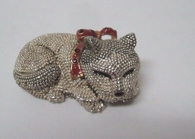 Silverplated sleeping cat HINGED BOX red bow with red stones FREE US ship