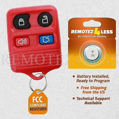 Remote for 2005 2006 2007 2008 2009 2010 2011 2012 2013 2014 Ford Mustang Red