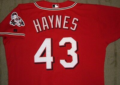 Jimmy Haynes Cincinnati Reds 2003 Alternate Red Game Worn Used Jersey (Brewers)