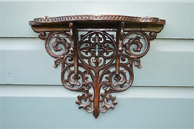 Superb antique hand carved Gothic walnut wall shelf sconce bracket c.1870