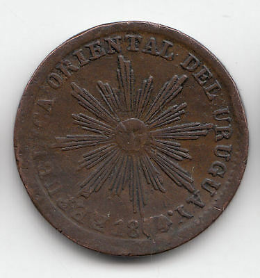 Uruguay 5 Cents 1854/0 Copper Scarce        242Z        By Coinmountain
