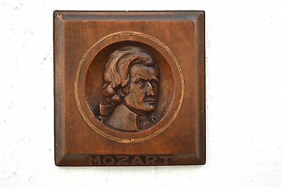Antique hand carved walnut wall plaque of the composer Mozart c.1900