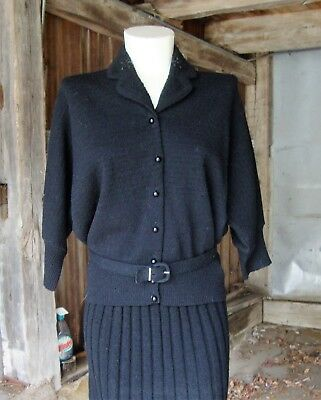 Vtg 40's 50's Black Wool Sweater Skirt Set with Beads * Size Large