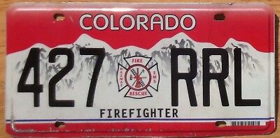 Colorado License Plate Number Tag Firefighter - $2.99 Start