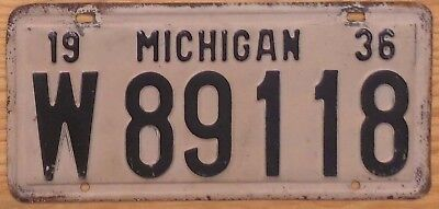 1936 Michigan License Plate Number Tag