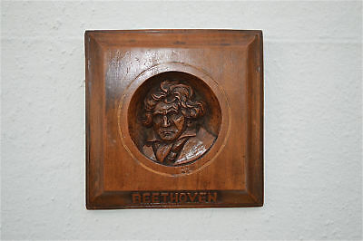Antique hand carved walnut wall plaque of the composer Ludwig Beethoven c.1900