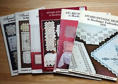 Lot of 7 Award-Winning Designs in Hardanger Embroidery Nordic Needle Patterns