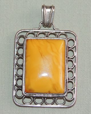 Antiker Bernstein Anhänger - 835 Silber - Butterscotch - Yellow Baltic Amber
