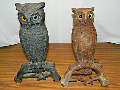 Antique VTG 407E Set Cast Iron Owl Fireplace Andirons w/ Glass Eyes Howes Boston