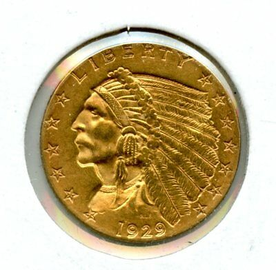 Amazing 1929 Indian Head Eagle $2 1/2 Dollar .90 Fine Gold Coin RR558