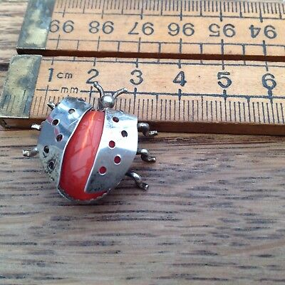 Vintage Silver (?) Ladybird Brooch With Red Glass Stone