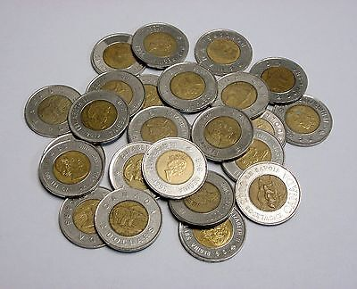 Lot of 50 Circulated 2 Dollar Canadian Toonies