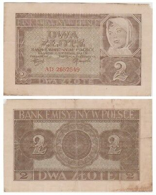 Two Zlots Polish banknote issued in 1941 AD vf