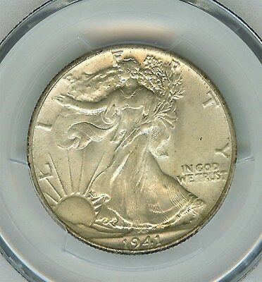 1941 Walking Liberty Silver 50 Cents  Pcgs Ms64