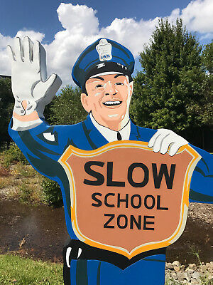 RARE POLICEMAN SCHOOL ZONE COCA COLA SIGN FIBERGLASS STOP COP Coke stop safety