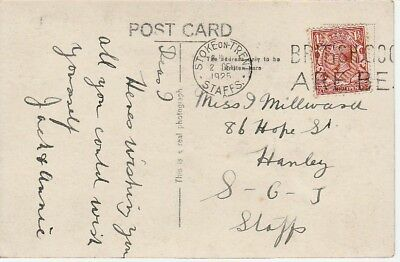 1925 Postcard Sent to Miss J.Millward 86 Hope Street Hanley Stoke on Trent