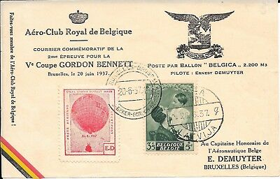 Belgium Gordon Bennett  Balloon  'belgica' Flown Card 1937.