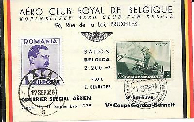 Belgium Gordon Bennett  Balloon  'belgica'  To Romania Flown Card 1938.