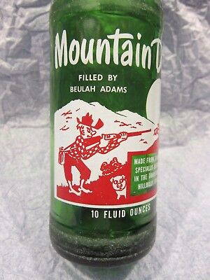 Mountain Mtn Dew Filled By Beulah Adams 1965 Hillbilly Glass Bottle By Pepsi