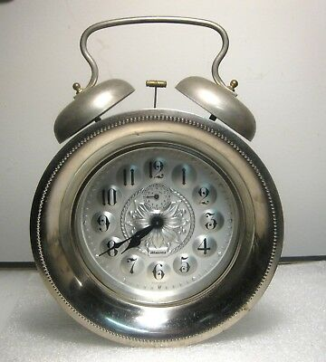 Vintage Wedgefield Double Bell Large Alarm Clock West Germany Works Fine