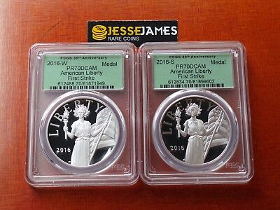 2016 W & S American Liberty Proof Silver Medal Pcgs Pr70 Dcam First Strike Set