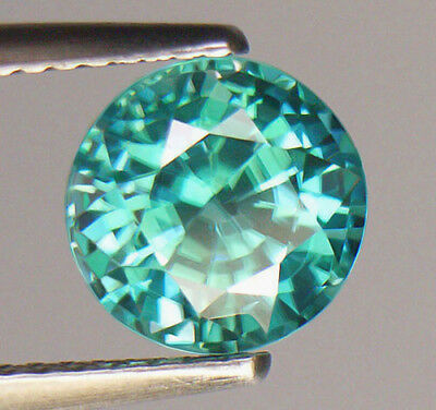 3.42Ct Limited Edition Bright Teal Bluish Green Color Round Cut Cambodian Zircon