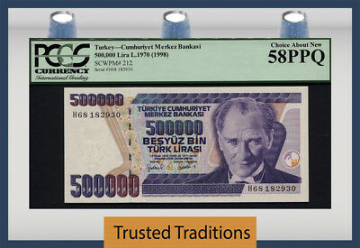 "Tt Pk 212 1970 Turkey 500000 Lira ""president K. A."" Pcgs 58 Ppq Choice About New"
