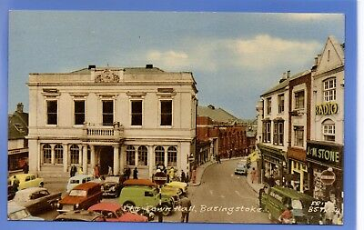 Superb 1963 Town Hall Basingstoke Hampshire Old Cars Vintage Postcard