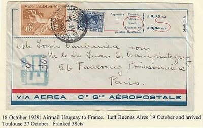 URUGUAY 1929 early air mail cover *MONTEVIDEO-PARIS* via ARGENTINA ??