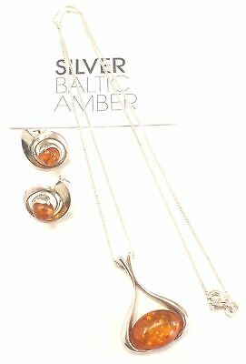 925 STERLING SILVER Real Baltic Amber Pendant Necklace & Earrings Set - B17