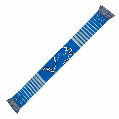 "Detroit Lions Football Team NFL 60"" Big Logo Blue Woven Knit Acrylic Scarf"