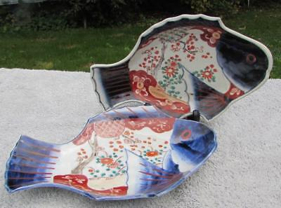 "PAIR OF ANTIQUE JAPANESE 12"" ANTIQUE 19thC MEIJI IMARI FISH DISHES"