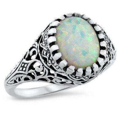 White Lab Opal Antique Filigree Design 925 Sterling Silver Ring Sz 7, #629