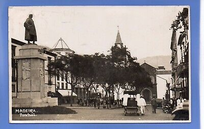 Superb 1936 Street Scene Funchal Madeira Rp Photo Vintage Postcard