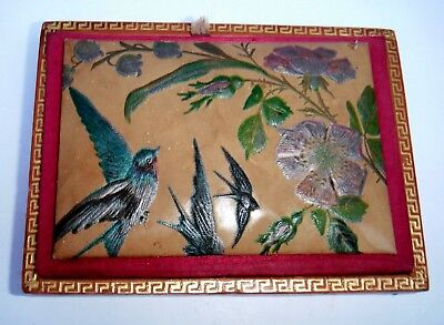 Antique Victorian Concertina Needle Case With Swallows/Swifts & Flowers c1890