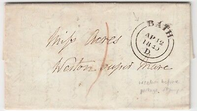 BATH 1840 pre-stamp entire *BATH-WESTON SUPER MARE*