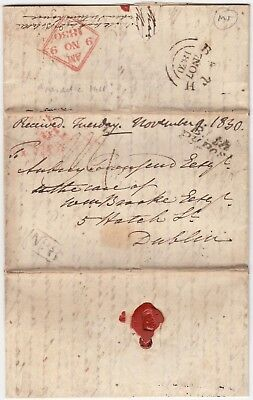 BATH 1830 pre-stamp entire *BATH-DUBLIN IRELAND* with BATH PENNY POST cd