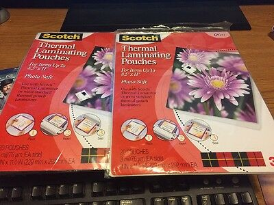 2 Brand NEW Scotch Letter Size Thermal Laminating Pouches 3 Mil 11 1/2 X 9 Packs