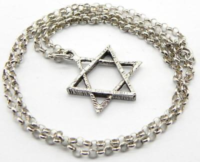 Vintage Solid Silver Star of David Pendant with Chain, Birmingham 1979.