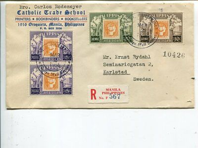 Philippines reg cover to Sweden 1956