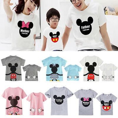 Family Matching Mickey Mouse Mom Dad Baby Kid T-shirt Top Summer Casual Clothes