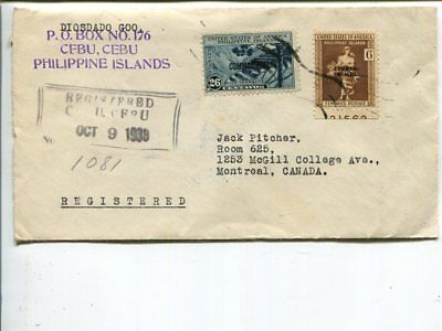 Philippines reg cover to Canada 1939