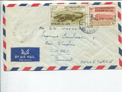 Laos air mail cover to England 1968