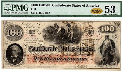 T-41 PF-25 $100 Confederate Paper Money 1862 - PMG About Unc 53 - CHOICE - Gold!