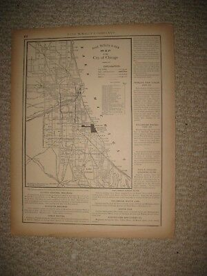Antique 1891 Chicago Illinois Dated Map Named Railroad Detailed Superb Rare Nr