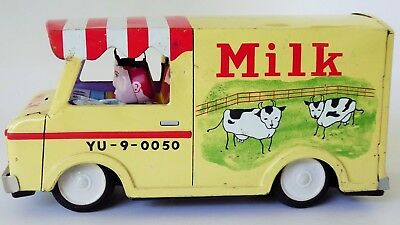 """Milk Truck Yu - 9 -0050 Tin Lithographed Friction Toy 50's Japan Made 7"""" Large"""