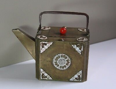 Antique Early 20thC Chinese Brass Enamel & Carnelian Teapot