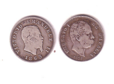 Italy  2 Silver One Lira Coins 1863Mbn, 1887M  Both Collectible Grades